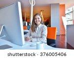 successful business woman... | Shutterstock . vector #376005406