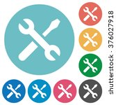 flat tools icon set on round... | Shutterstock .eps vector #376027918
