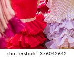 red woman flamenco clothes... | Shutterstock . vector #376042642