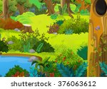cartoon forest   scene for... | Shutterstock . vector #376063612