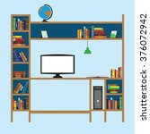 place for learning. shelf with... | Shutterstock .eps vector #376072942