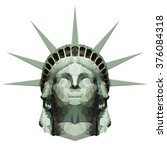stylized statue of liberty head ...   Shutterstock . vector #376084318