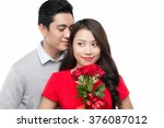 happy smiling vietnamese couple ... | Shutterstock . vector #376087012