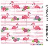 Flamingo Seamless Vector...