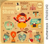 circus entertainment poster in... | Shutterstock .eps vector #376101142
