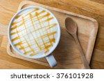 top view of caramel macchiato   Shutterstock . vector #376101928