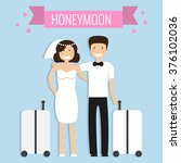 honeymoon concept. wedding... | Shutterstock .eps vector #376102036