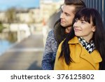 romantic young couple share a... | Shutterstock . vector #376125802