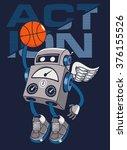vector robot basketball player... | Shutterstock .eps vector #376155526