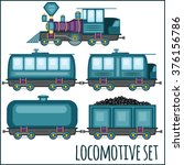 set of vintage locomotives  | Shutterstock .eps vector #376156786