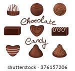 chocolate candies set   Shutterstock .eps vector #376157206