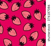 strawberry seamless hand drawn... | Shutterstock .eps vector #376187086