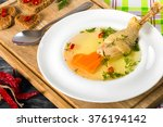 fresh clear soup with carrot... | Shutterstock . vector #376194142