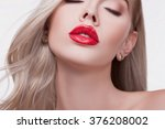 sexy sensual red lip  mouth... | Shutterstock . vector #376208002