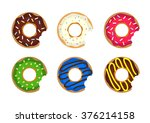 colored donuts with cream and...   Shutterstock .eps vector #376214158