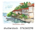 macedonia watercolor landscape. ... | Shutterstock . vector #376260298