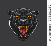 angry black panther with open... | Shutterstock .eps vector #376261252