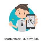 business man holding smartphone ...   Shutterstock .eps vector #376294636