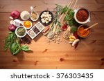 assorted spices and herb on the ... | Shutterstock . vector #376303435