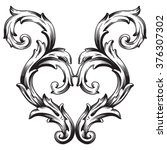 vintage baroque frame scroll... | Shutterstock . vector #376307302