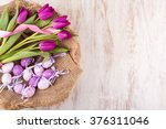 easter eggs and flowers over... | Shutterstock . vector #376311046