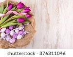 easter eggs and flowers over...   Shutterstock . vector #376311046
