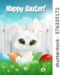 easter bunny siting on a grass... | Shutterstock .eps vector #376335172