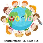 children smiling around the... | Shutterstock .eps vector #376335415