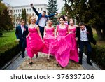 four groomsmen and four... | Shutterstock . vector #376337206