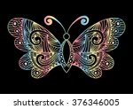 artistic pattern with butterfly....   Shutterstock .eps vector #376346005