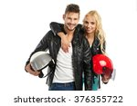 motorcyclists couple with... | Shutterstock . vector #376355722