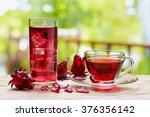 cup of hot hibiscus tea ... | Shutterstock . vector #376356142