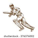 poss of hitting ball in cricket ... | Shutterstock .eps vector #376376002