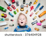 Cute Funny Boy With Toy Cars...