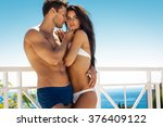 sexy couple touching at each...   Shutterstock . vector #376409122