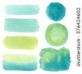 hand drawn green watercolor... | Shutterstock . vector #376424602