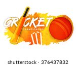 shiny bat with ball and wicket... | Shutterstock .eps vector #376437832