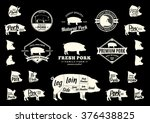 set of pork logo. pork cuts... | Shutterstock .eps vector #376438825