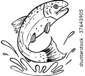 trout line art | Shutterstock .eps vector #37643905
