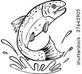 trout line art | Shutterstock .eps vector #37643905