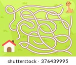vector maze game with dog to... | Shutterstock .eps vector #376439995