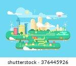 green city flat | Shutterstock .eps vector #376445926