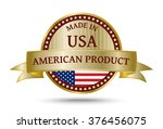made in usa golden badge and... | Shutterstock .eps vector #376456075