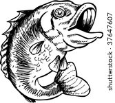 big mouth bass drawing | Shutterstock .eps vector #37647607