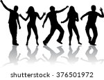 dancing people silhouettes. | Shutterstock .eps vector #376501972