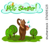 hello summer  greeting card... | Shutterstock .eps vector #376505125