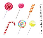 colorful sweets icons set  ... | Shutterstock .eps vector #376507612