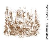 restaurant scene illustration   ... | Shutterstock .eps vector #376518652