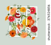Floral Spring Graphic Design - with Colorful Flowers - for t-shirt, fashion, prints - in vector