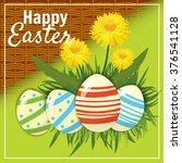 easter eggs in the grass with... | Shutterstock .eps vector #376541128